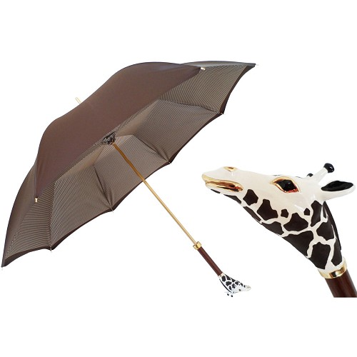 Pasotti luxury women's brown double cloth umbrella with Giraffe handle.