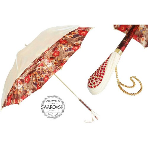 Spectacular Pasotti luxury women's umbrella with floral interior and handle embedded with Swarovski crystals.