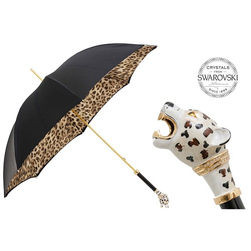 Pasotti luxury women's umbrella with snarling Cheetah enameled brass handle.