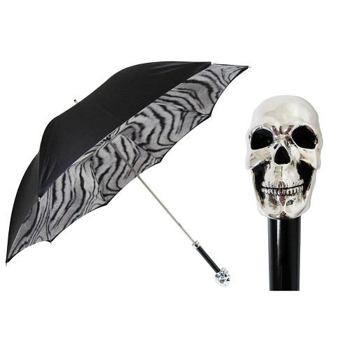 Pasotti women's double cloth black and animial print umbrella with silver skull handle.