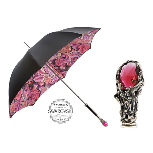 Pasotti Ombrelli Black and Red floral paisley print Swarovski® Luxury Women's Umbrella with red gem handle.