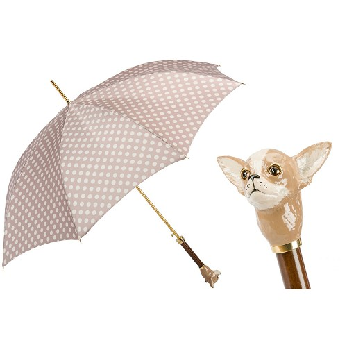 Pasotti luxury women's umbrella with white dotted tan canopy and Chihuahua handle in enameled brass.