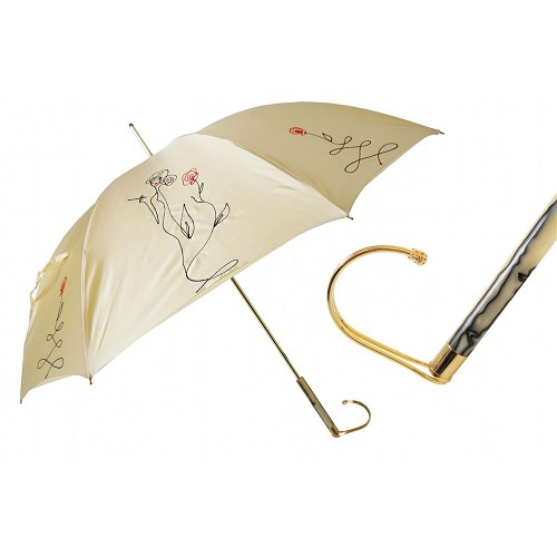 Pasotti luxury women's Ivory umbrella decorated with sketch of a woman. Jeweled handle.
