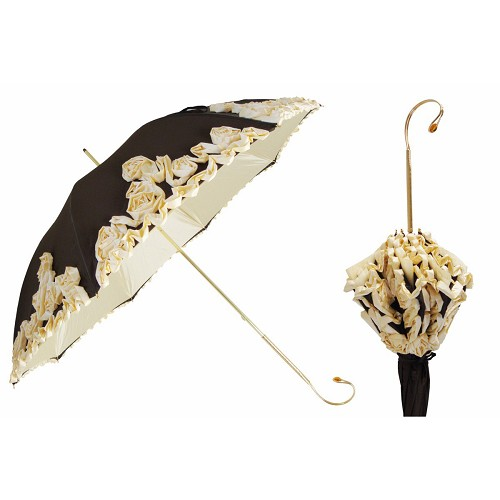 Handmade Pasotti luxury women's umbrella closes to form a flower bouquet.ld brass handle.