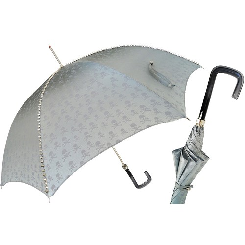 Pasotti women's metal studded grey skull print luxury umbrella with black acetate handle.
