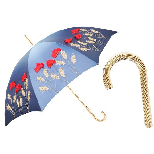 Pasotti women's blue luxury umbrella with decorative flowers and brass handle.