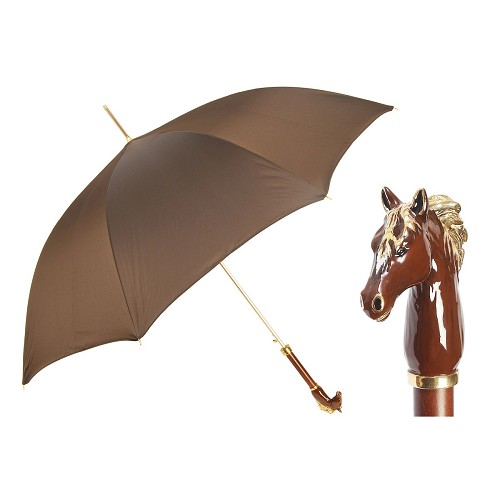 Pasotti luxury women's brown umbrella with enameled brass horse handle.