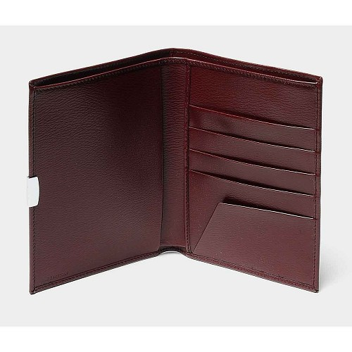 Pineider 1949 Leather Passport Holder and Wallet , Bordeaux Red, is an essential and elegant travel acessory for men.