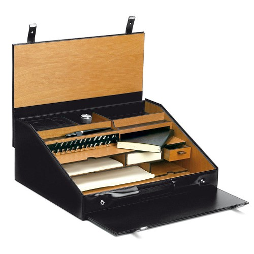 Pineider 1949 Leather Travel Writing Desk Set offers an assortment of stationery, pens and inks stored and organized in a case. Personalization available.