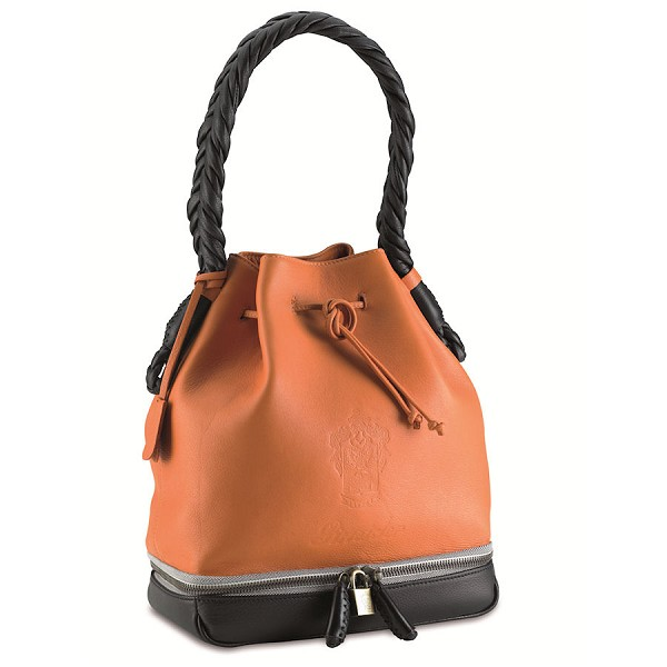 Pineider Cervinia Deerskin Leather Bucket Handbag