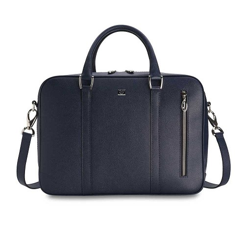 Pineider City Chic Leather 2-Handle Bag - Medium in Blue fine grain calfskin. Also available in Black or Bordeaux (Red).