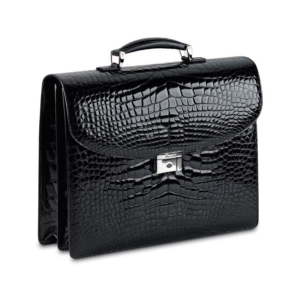 Pineider City Chic Alligator Briefcase - 2 Gussets - Limited Edition