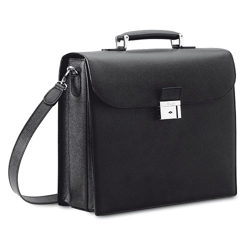 Pineider City Chic luxury laptop bag handmade in Italian veau graine calf leather with palladium finished hardware.