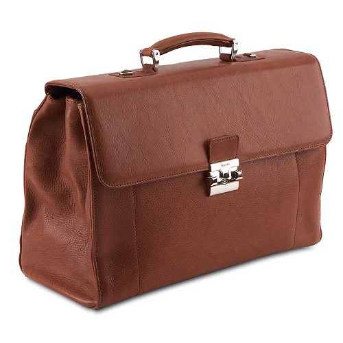 Pineider Country Leather Briefcase - 3 Gussets is a luxury business bag handmade in smooth hammered calfskin. Shown in Cognac.