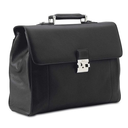 Pineider Country Leather Briefcase - 2 Gussets is a luxury business bag handmade in smooth hammered calfskin.