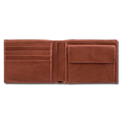 Pineider Country Leather Men's Bi-Fold Wallet with Coin Pocket