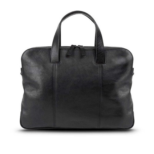 Pineider Country Leather Slim 2-Handle Document Bag in black vegetable tanned calfskin.