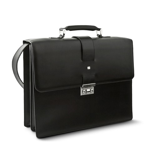 Pineider Milano Leather Briefcase - Double Gusset is a handmade smooth black calfskin luxury briefcase aimed at a young and formal clientel.