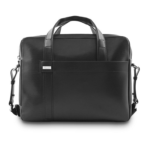 Pineider Milano 2012 Two Handle Leather Bag is a handmade smooth black calfskin luxury briefcase aimed at a young and formal clientel.