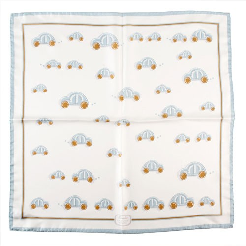 Pineider Baby Collection Bandana Scarf - Light Blue features a car motif.