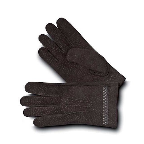 Elegant Ebony Carpinchos Men's Leather Gloves with a cashmere lining.