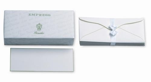Plain, straight cut, hand painted bordered cards.  Tissue-lined envelopes.