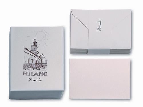 Laid watermarked cards, straight cut.  Tissue-lined envelopes with Pineider embossing.