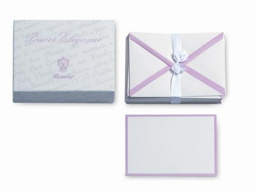 Plain straight cut cards sheets. Tissue-paper lined envelopes.