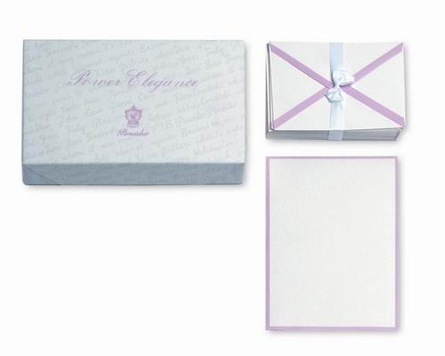 Plain, watermarked, straight cut sheets. Tissue-paper lined envelopes.