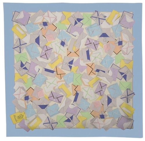 Silk Scarf with Light Blue Border
