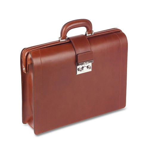 The Pineider Power Elegance Leather Diplomatic Briefcase - Medium is a world class handmade luxury briefbag in a supple leather with palladium hardware. Personalize as desired.