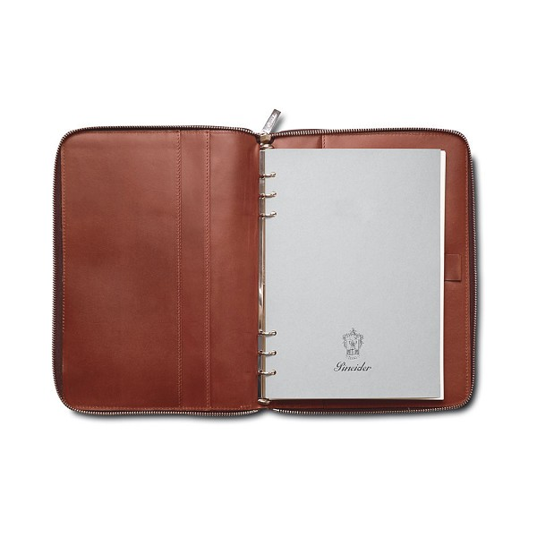 Pineider Power Elegance Leather 6-Ring Zip Around Weekly Diary 17 x 24