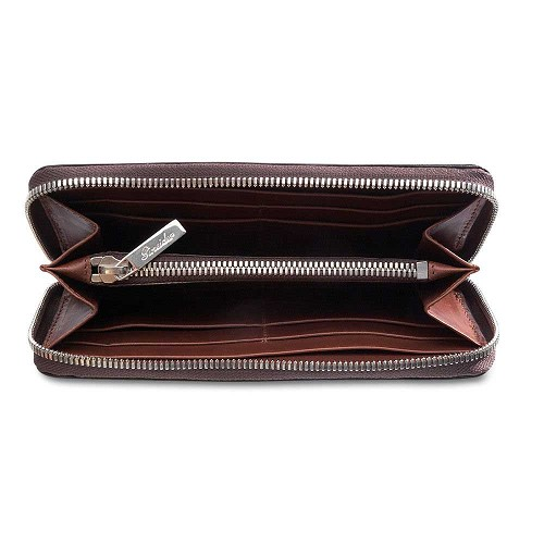 Luxurious handmade Power Elegance Leather Zip Around Wallet for Women is handmade in soft supple vegetable tanned calfskin.