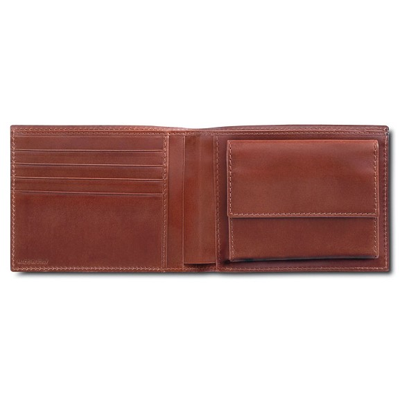 Pineider Power Elegance Men's Bifold Leather Wallet with Coin Pocket