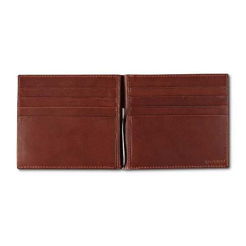 Pineider Power Elegance Leather Men's Money Clip Wallet features 8 slots for cards.