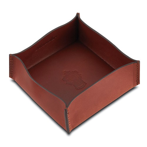 Power Elegance Leather medium size square valet tray handmade in Reddish Brown vegetable tanned Tuscan calfskin.