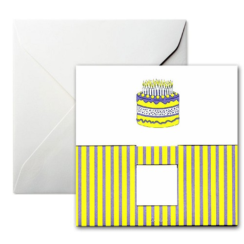 Pineider Birthday Card Cake with Candles Square Whte Birthday Card.