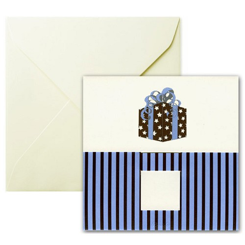 Pineider Birthday Card Present with Ribbons Square Ivory Birthday Card.