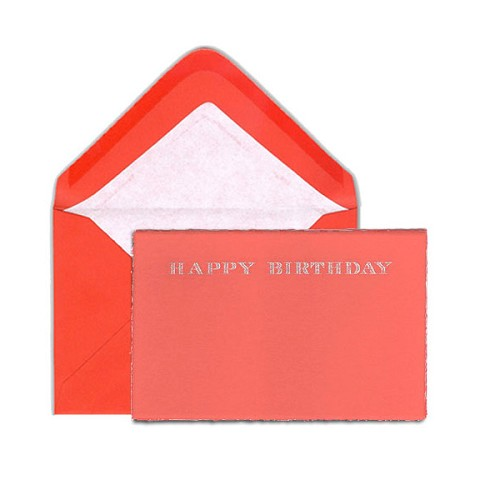 Pineider Hand-Engraved Red Happy Birthday Cards with matching tissue lined envelopes. Set of 3.