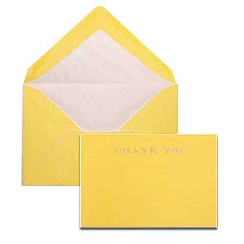 Pineider Hand-Engraved Yellow/White Thank You Cards with matching tissue lined envelopes.