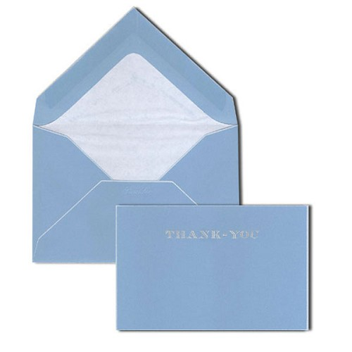 Pineider Hand-Engraved Turquoise/White Thank You Cards with matching tissue lined envelopes.