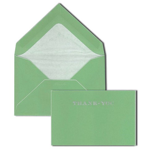 Pineider Hand-Engraved Green/White Thank You Cards with matching tissue lined envelopes.
