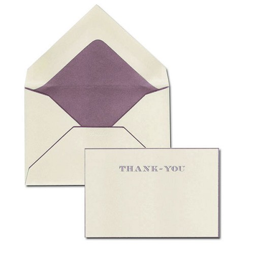 Pineider Hand-Engraved Suede/Bordeaux Thank You Cards with matching tissue lined envelopes.