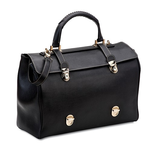 The luxurious Pineider Bi-plomatic Leather Bag functions as a briefcase or tote. Size is adjustable.