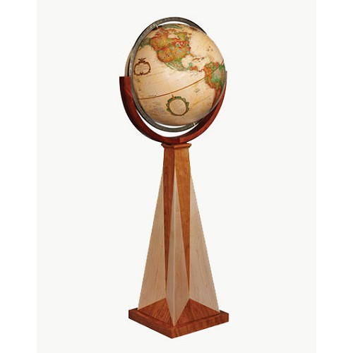 "Obelisk Floor Globe with 16"" diameter and Antique ocean"