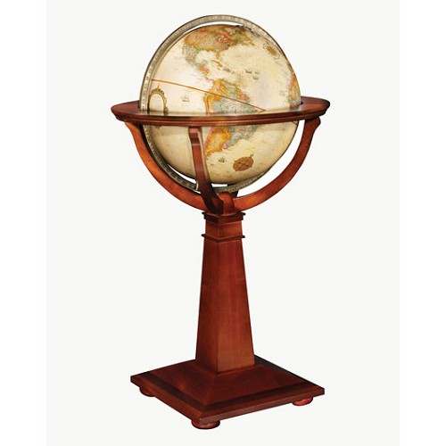 Logan Antique Ocean Floor Globe with raised relief map and wood stand.