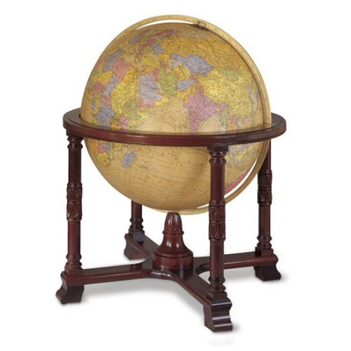 "Diplomat 32"" Illuminated Floor Globe offers more than 20,000 places on its Antique ocean map."