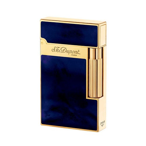 Atelier collection cigar lighter in Navy Blue Chinese lacquer and gold.