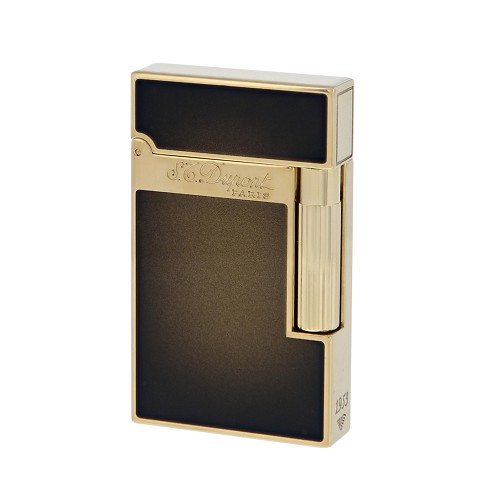 ST Dupont Atelier cigar lighter in Navy Sunburst Bronze natural lacquer with yellow gold finish.