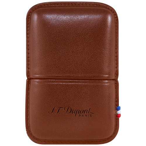 ST Dupont smooth brown leather calfskin case for Ligne 2 lighters.